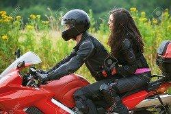 Мотоцикл, парень, девушка.